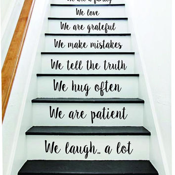 In This House Stairs Quote Wall Decal Sticker Room Art Vinyl Joy Peace Happy Family Home House Staircase Love Beautiful Inspirational