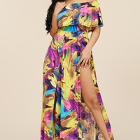 Ruffle Front Slit Maxi Dress (More Colors)