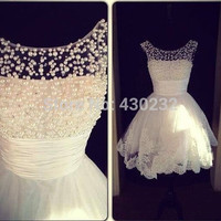 Charming New A Line Jewel Collar Sleeveless White Applique Pearls Formal Party Homecoming Dress 2016 Short Mini Prom Dresses