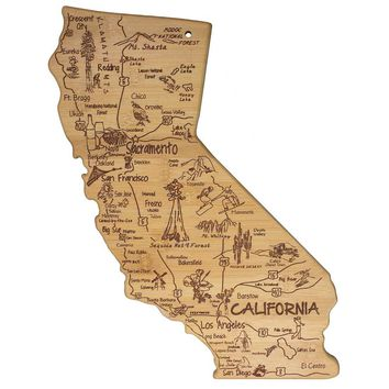 Totally Bamboo Destination California State Serving Board 100% Bamboo Board