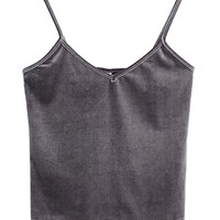 Dark Grey V-neck Velvet Cropped Cami Top
