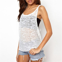 Women Summer Vests Sexy See Through Tanks Sleeveless Tops New Fashion Sport Tees