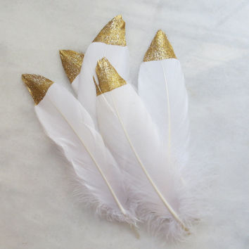 Gold Glitter Tipped White Feathers - Home Decor