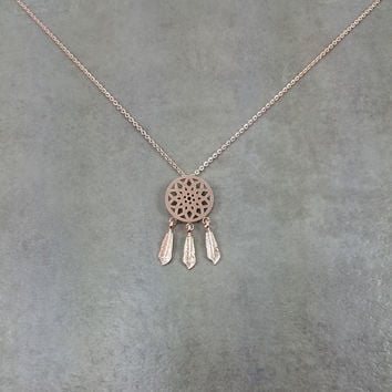 Dream Catcher Rose Gold Necklace