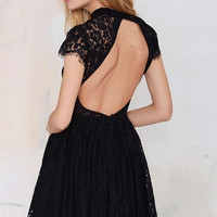 Black Back Cut-out Lace Shirring Short Sleeve Mini Dress
