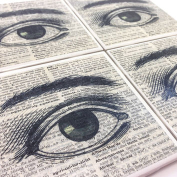 Ceramic Tile Coasters - Mystical Eye - Set of 4 - Upcycled Dictionary Page Book Art - Home Decor Steampunk Goth