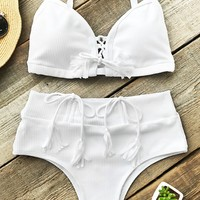 Cupshe Bath In Sunshine High-waisted Bikini Set