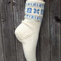 hand knitted wool socks, knit white women socks, knit warm home boot socks, knitting leg warmers, slippers, traditional stockings,