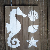 Bathroom decor Seahorse Shells Starfish white wash on Rustic Barn Wood Sign