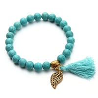 Nature Turquoise Beads Bracelet Joker Tassel Leaves Pulseiras Charm Bracelets & Bangles for Women Jewelry F2833