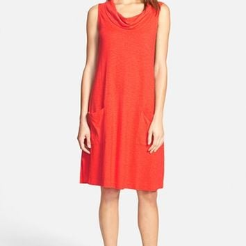 Petite Women's Eileen Fisher Hemp & Organic Cotton Cowl Neck A-Line Dress