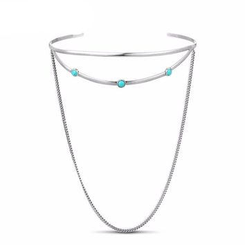 Bohemian Silver Plated Chokers Necklaces Multi layer Collar Trendy Jewelry Accessories