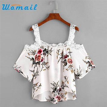 Womail Summer Floral Print Off Shoulder Tops Shirts For Women Short Sleeve Blouse Sexy Ladies Top Blusas Femininas 2017 #23