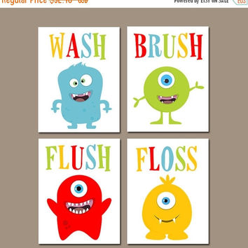 Monster Bathroom Wall Art, Bath Artwork, Kid Bathroom Pictures, Alien Theme Decor, Wash Brush Flush Floss Rules Canvas or Prints Set of 4