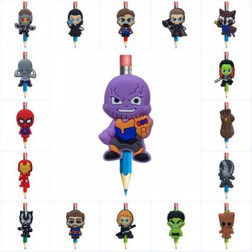 18pcs/lot Avenger 3 Cartoon PVC Pen Caps Accessory Office Stationery School Supplies Souvenir Collection Pencil Toppers