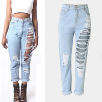 Holes Ripped Straight 9/10 High Waist Casual Jeans