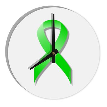 "Lyme Disease Awareness Ribbon - Lime Green 8"" Round Wall Clock"