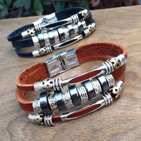 New Circles Charms Leather Bracelet