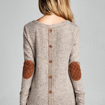 Button Up The Back Sweater in Taupe