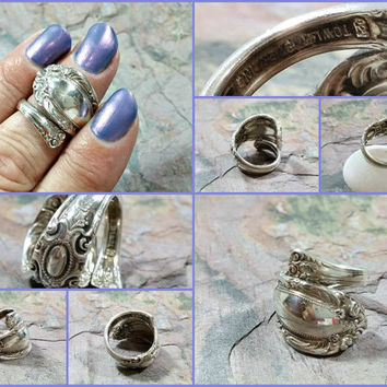 Vintage Towle Silver Ring Sterling Silver Spoon Ring Wrap Adjustable Fit One Size Fits Most Jewelry Gift for Her Lovely Design Nice Ring!