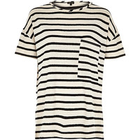 River Island Womens Cream stripe oversized pocket t-shirt