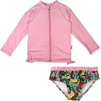 "Baby Girl Long Sleeve Zipper Rash Guard Swimsuit Set (2 Piece) UPF 50+ |""Butterfly Love"""