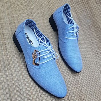 Men Popular Men's Lace-up Casual Pointed Trendy Leather Shoes Fashion Business Shoes