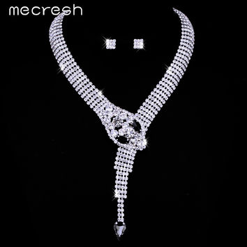Mecresh Crystal Silver Color Snake Bridal Jewelry Sets Unique Design Wedding Earrings Necklace Set Parure Bijoux Femme TL372