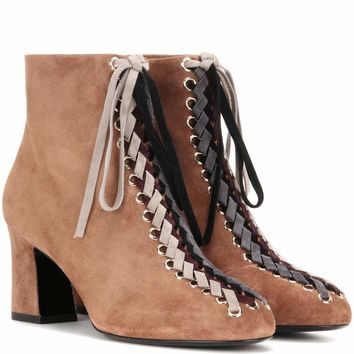 Bootie Tressage Chunky 70 lace-up suede ankle boots