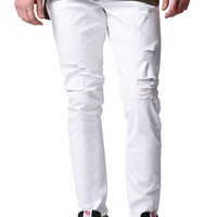Stacked Skinny Destroyed White Jeans - Mens Jeans - White
