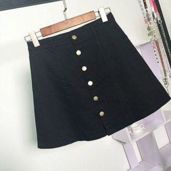 Denim button front jeans skirt in 5 colors  Sizes:  S - L