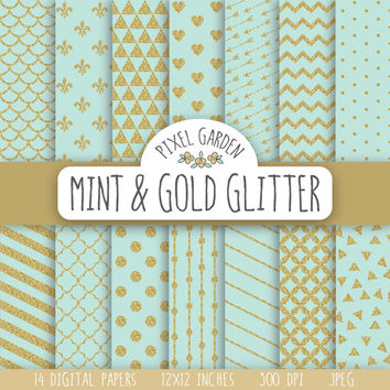 Mint and Gold Glitter Digital Paper. Gold Sparkle Scrapbooking Paper Pack. Polka Dot, Heart, Arrows, Quatrefoil, Stripes & Fleur De Lis.