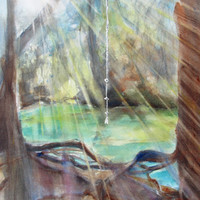 Original Watercolor Landscape Painting, Tree Rope Swing, 12x16, Water Swimming Hole, Sunshine, Sun beams, Sun Rays, Summertime, Nostalgia