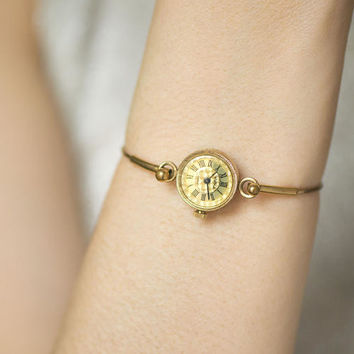Gold plated watch bracelet, round tiny watch Seagull, cocktail wristwatch, gold face delicate watch, petite women watch small, prom gift