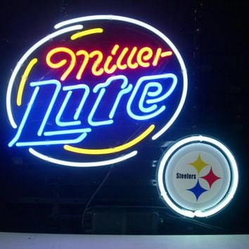 Business NEON SIGN Signboard For PITTSBURGH STEELERS FOOTBALL MILLER LITE GLASS Tube BEER BAR PUB Club Shop Light Signage 17*14""