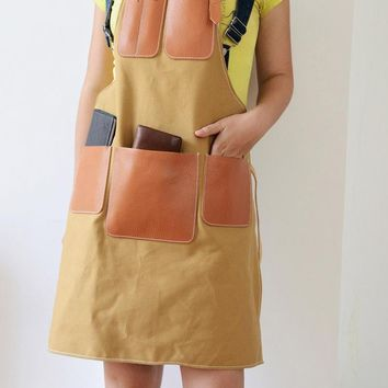 Handmade Genunine Leather and Denim Apron - Barber Supplies