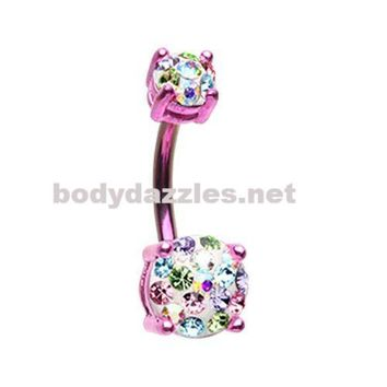 Pink Color Multi Sprinkle Dot Gem Prong Sparkle Belly Button Ring 14ga