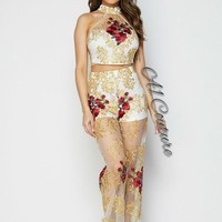 Grace Stunning Lace Floral Embroidery Two Piece Set