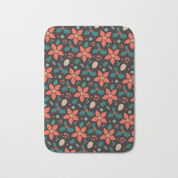 Deck the Halls (Black Background) Bath Mat by lalainelim