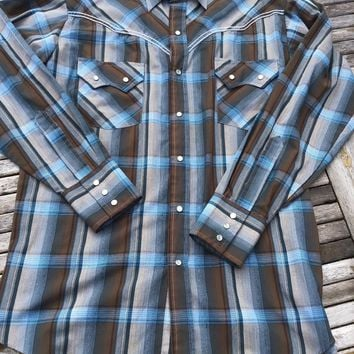 Plains Mens Western Shirt Size M Pearl Snaps Long Sleeve Turquoise & Brown Plaid