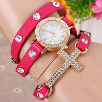 Pink Leather Wrap Rhinestone Watch with Cross Pendant