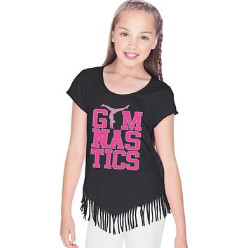 Girls Gymnastics T-shirt Text Fringe Tee