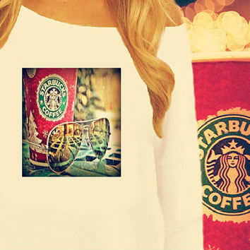 Starbucks Holiday Off The Shoulder Sweatshirt