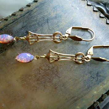 Vintage Art Nouveau Deco Glass Opal Earrings - Gold Brass