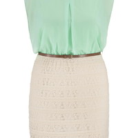 Plus Size - Lace And Chiffon 2Fer Dress - Mint Creme