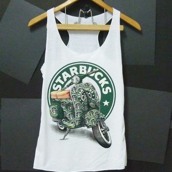 Green Vespa STARBUCKS COFFEE LOGO White  women teen Tank top size S singlet crop top shirt blouse