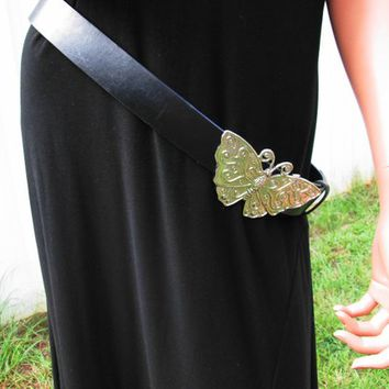 Black Leather Butterfly Belt Large Silver Metal Butterfly Buckle Vintage Womens Belt XL Size 12 Boho Festival Hippie Gypsy Belt