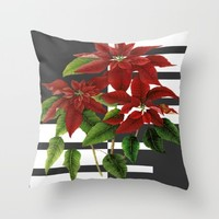 vintage poinsettia on modern background Throw Pillow by Clemm
