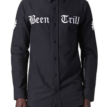 Been Trill Split Hem Long Sleeve Shirt - Mens Shirt