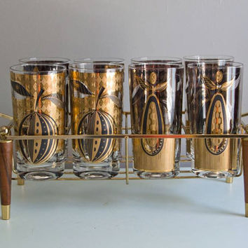 Georges Briard Vintage Signed Glasses  Wood & Brass Carrier Mid Century, Retro Hostess Holiday Serving